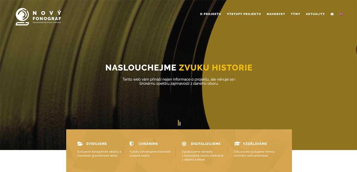 Úvodní stránka webu Nový fonograf
