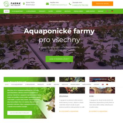 Náhled na internetovou stránku Aquaponické farmy pro všechny