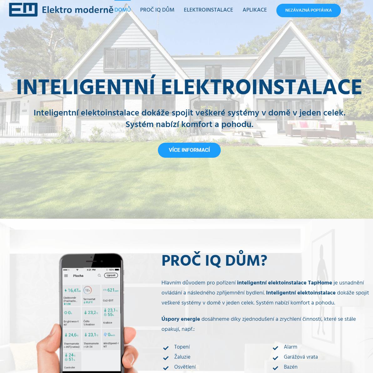 Náhled na tvorbu webu Elektro moderně