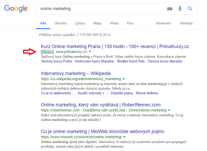 Příklad PPC reklamy ve vyhledávání v Google CZ