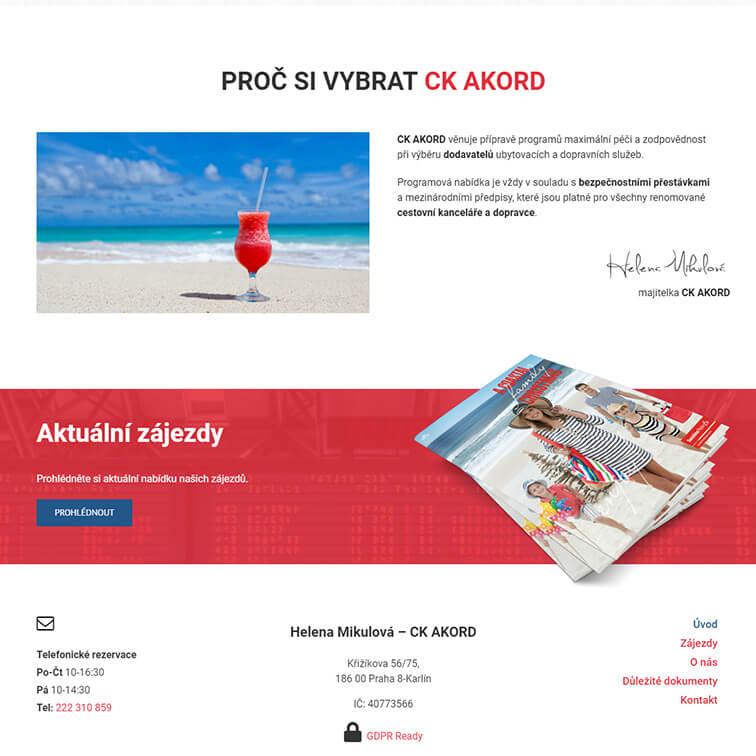 Newsletter Cestovní kancelář Akord