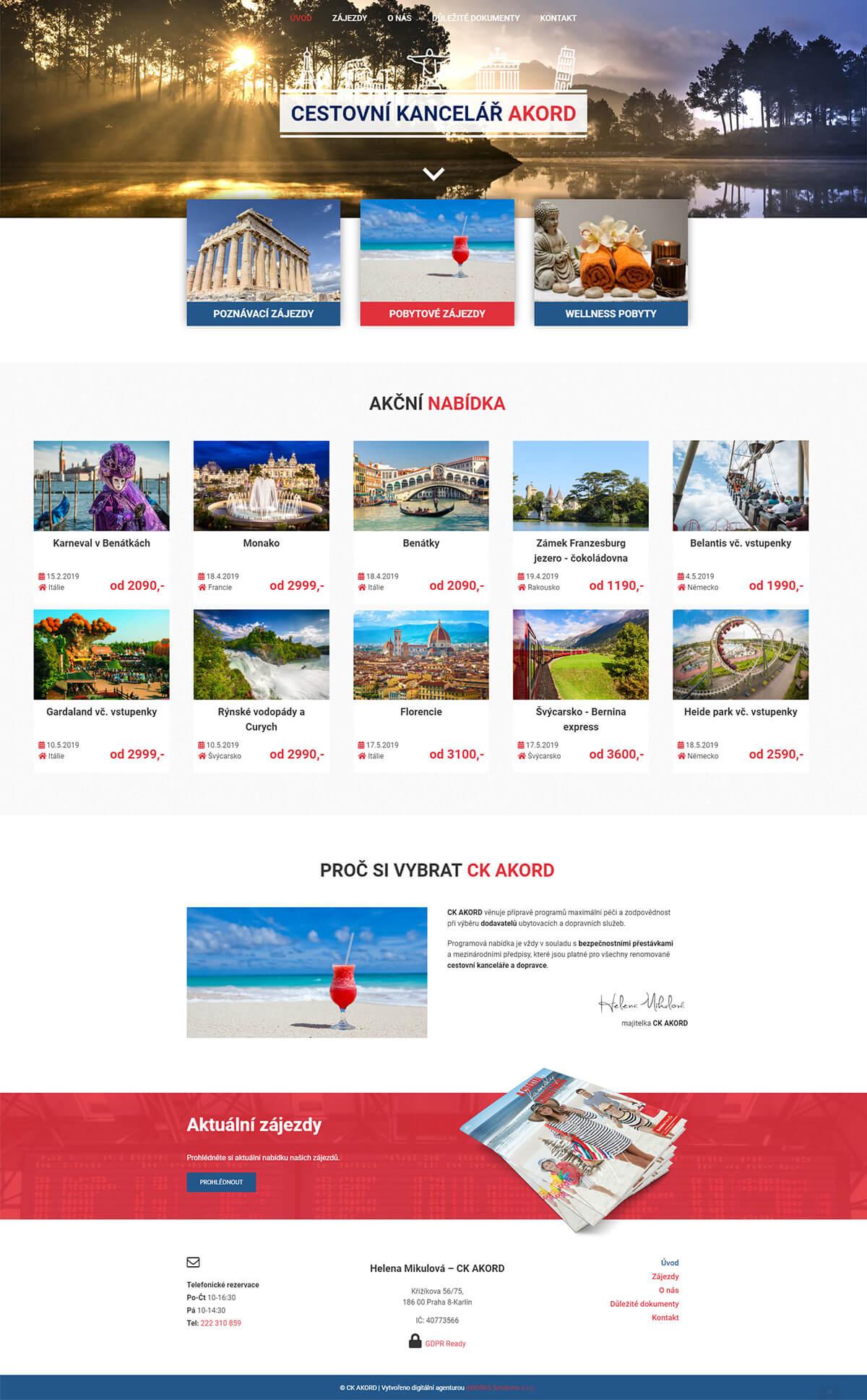 Screenshot webu Cestovní kancelář Akord
