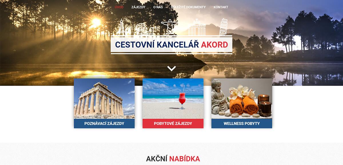 Úvodní stránka webu Cestovní kancelář Akord