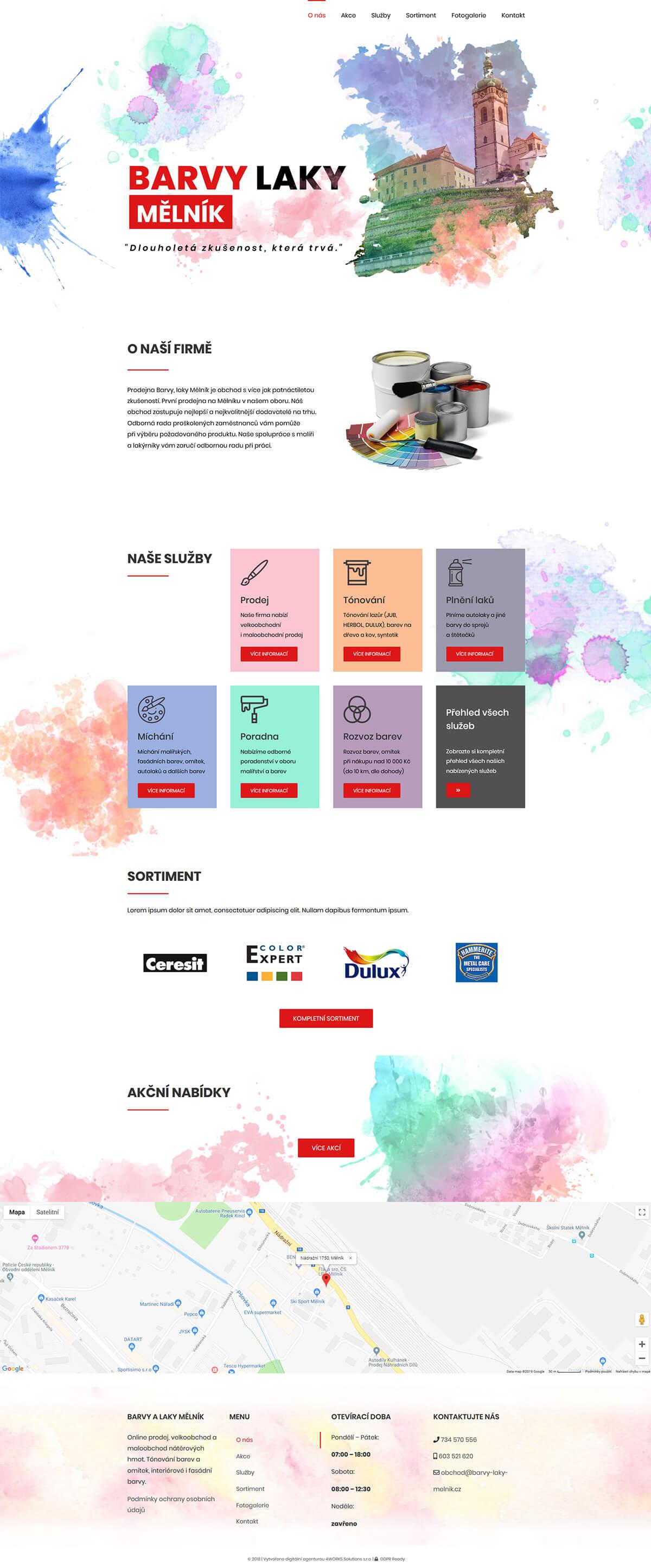 Screenshot webu Barvy laky Měník