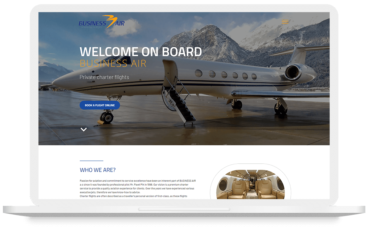 Mockup webu Businessair