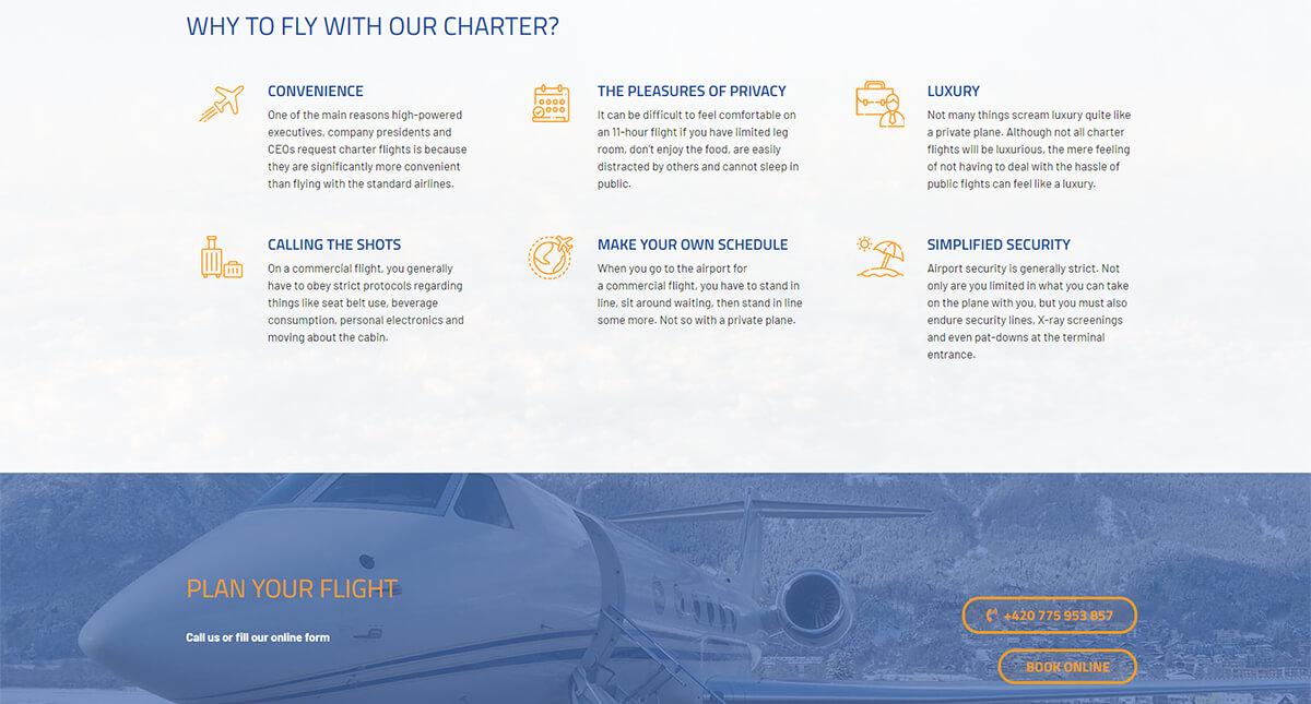 Služby webu Businessair