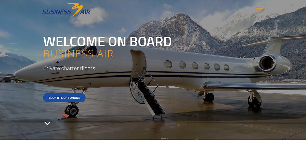 Úvodní stránka webu Businessair