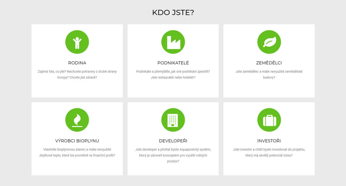 Ukázka z tvorby webu farma pro všechny