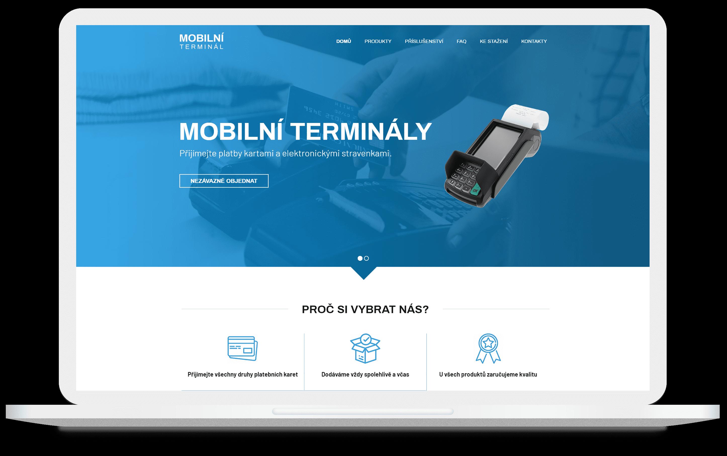 Mockup webu Mobilní terminál