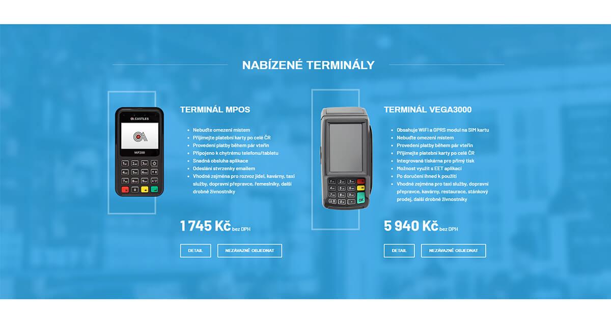 Ponuka produktů Mobilní terminál