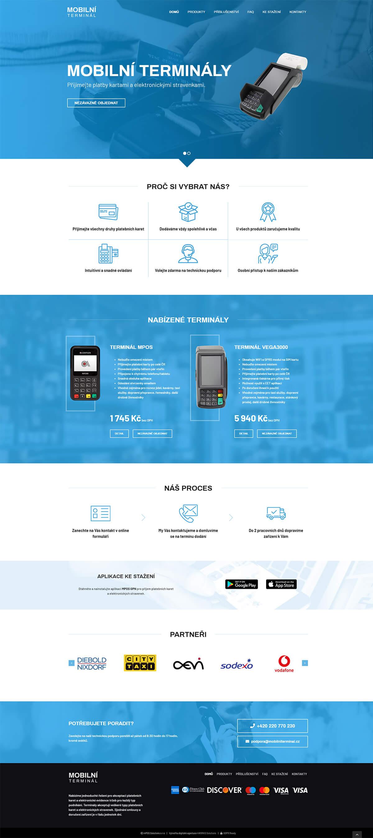 Screenshot webu Mobilní terminál