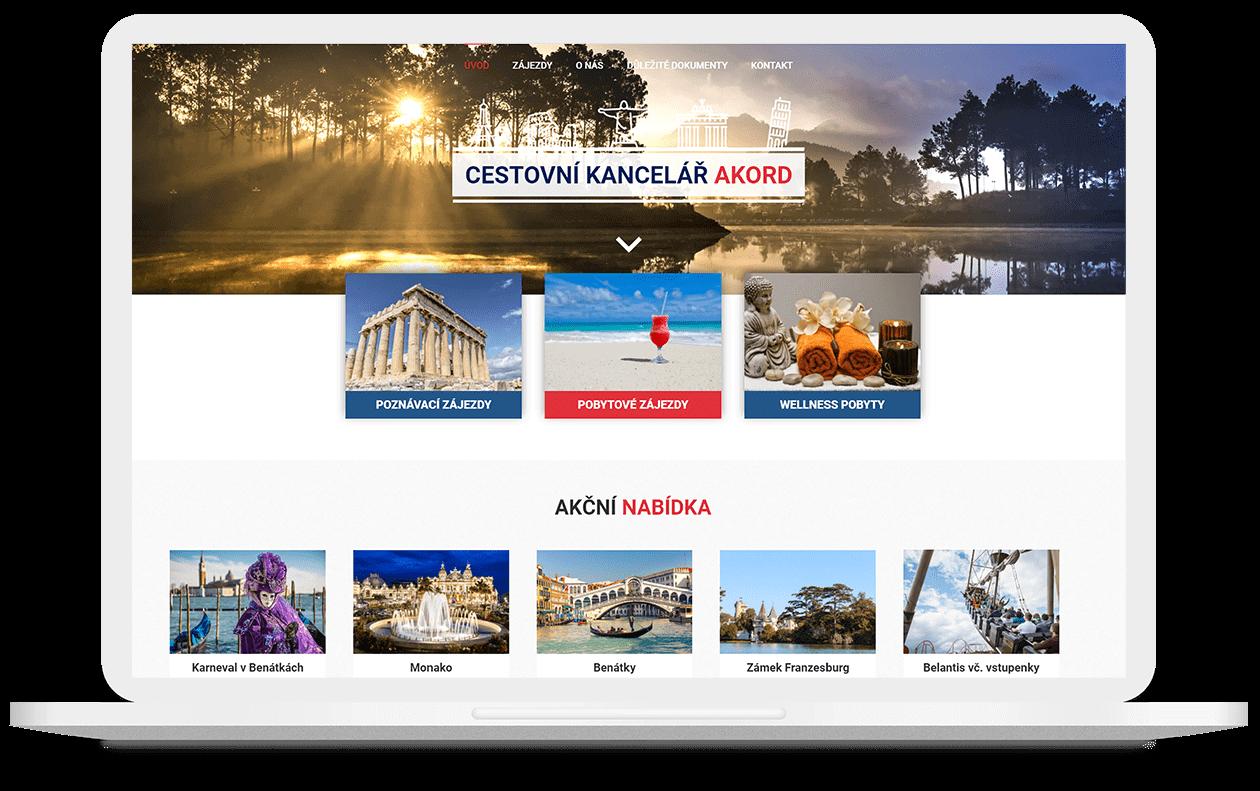 Mockup webu Cestovní kancelář Akord