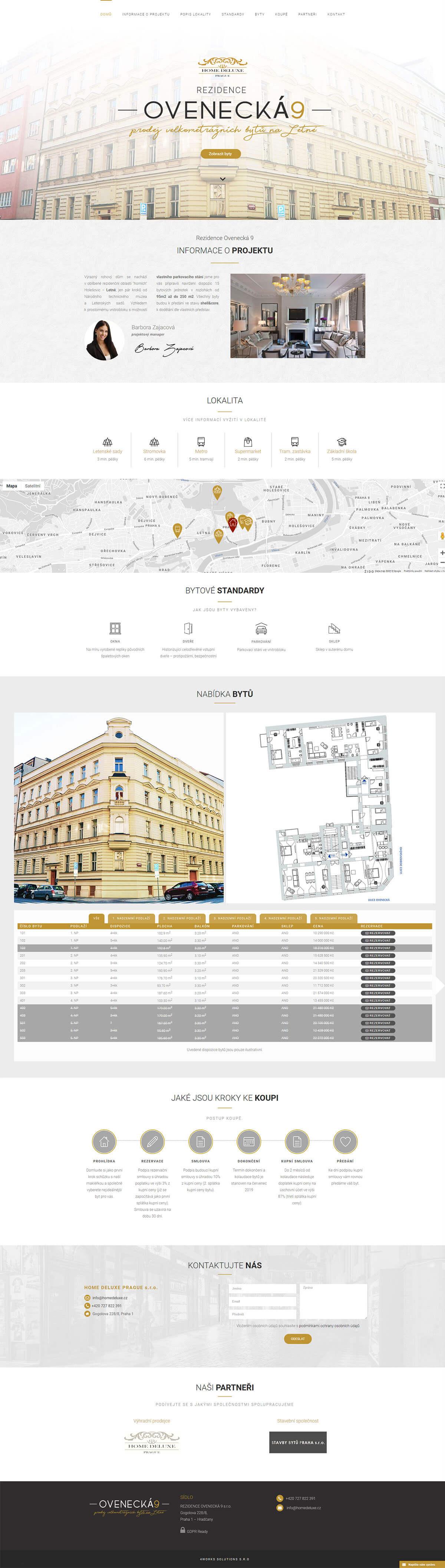 Screenshot webu Ovenecká 9