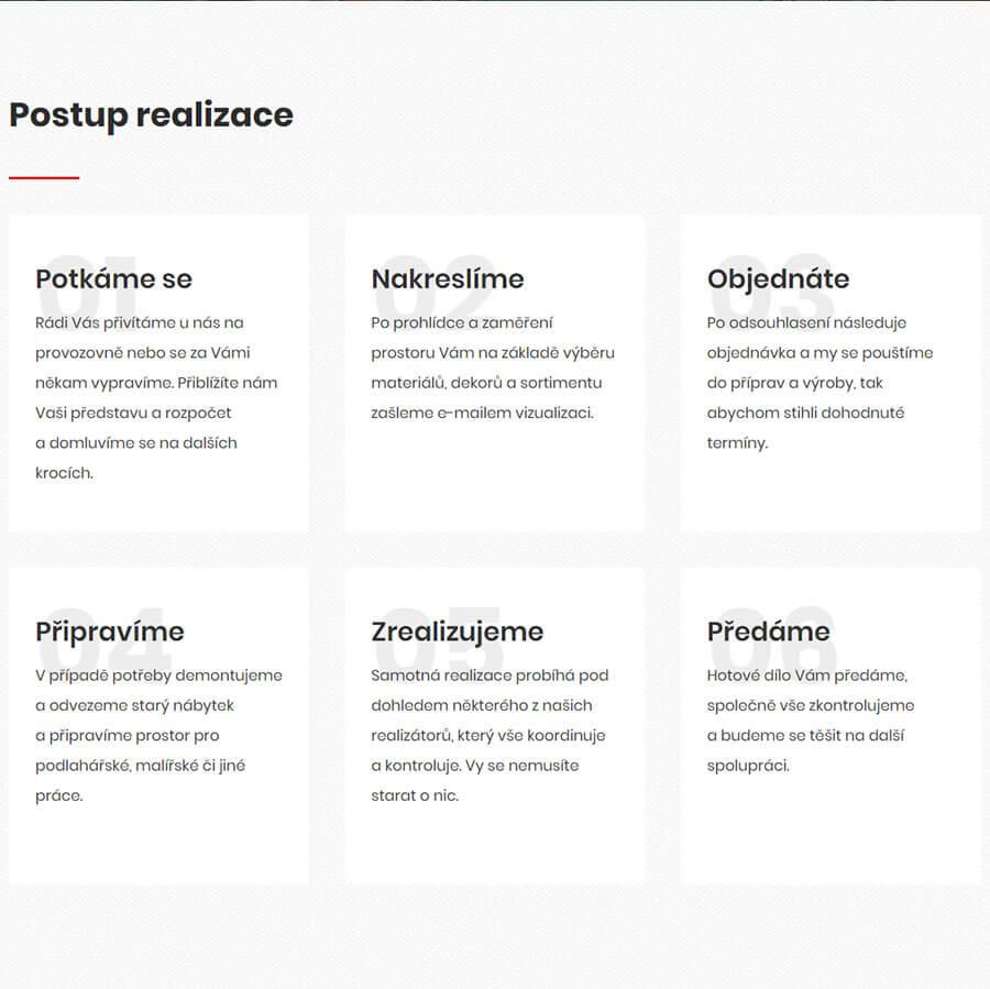 Postup realizace na webu Compo Interiéry