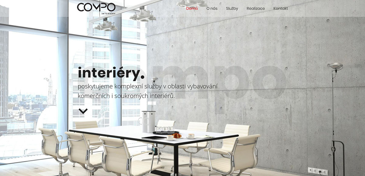 Úvodní stránka webu Compo Interiéry