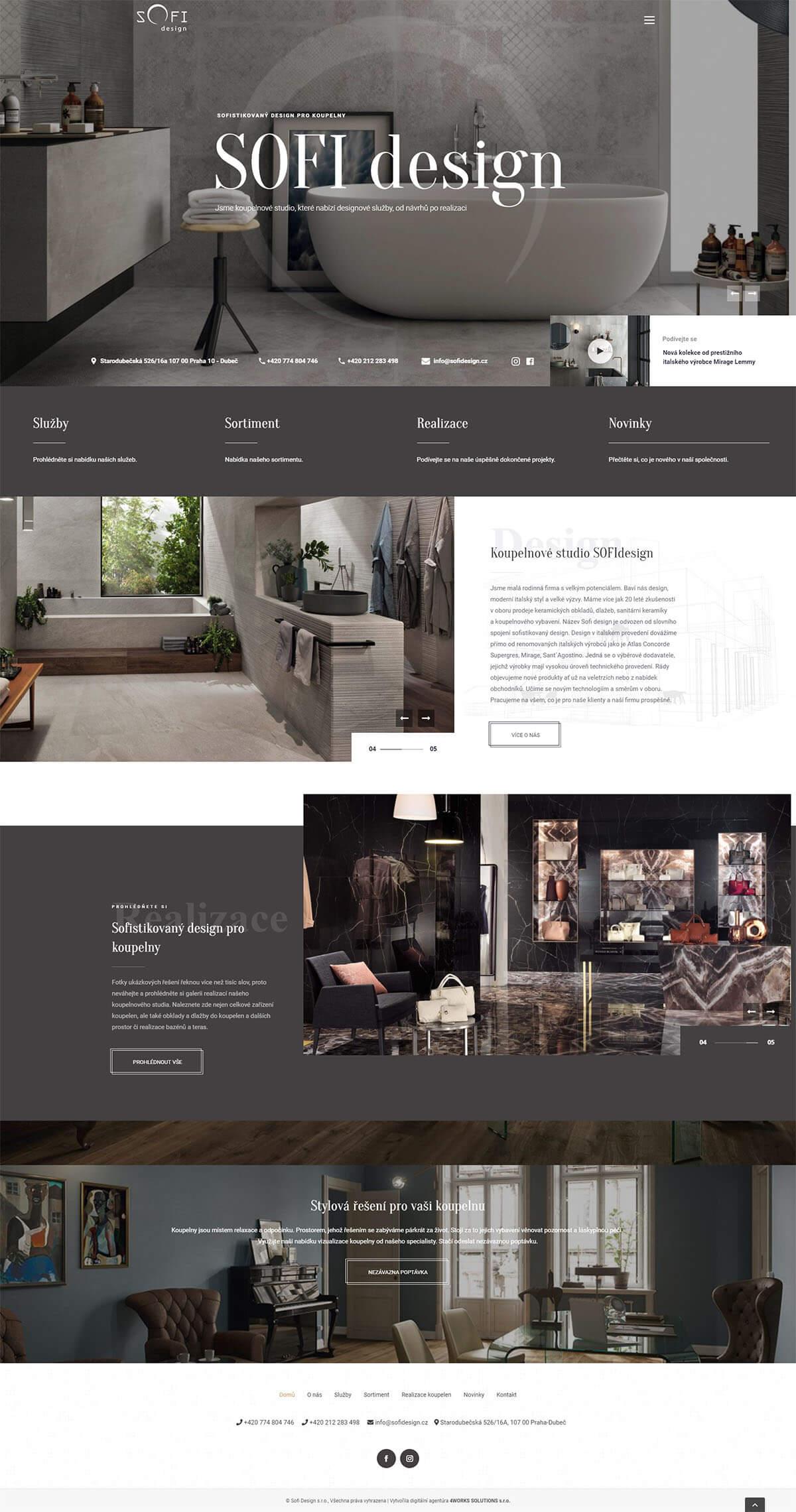 celá webová prezentace firmy SOFI design