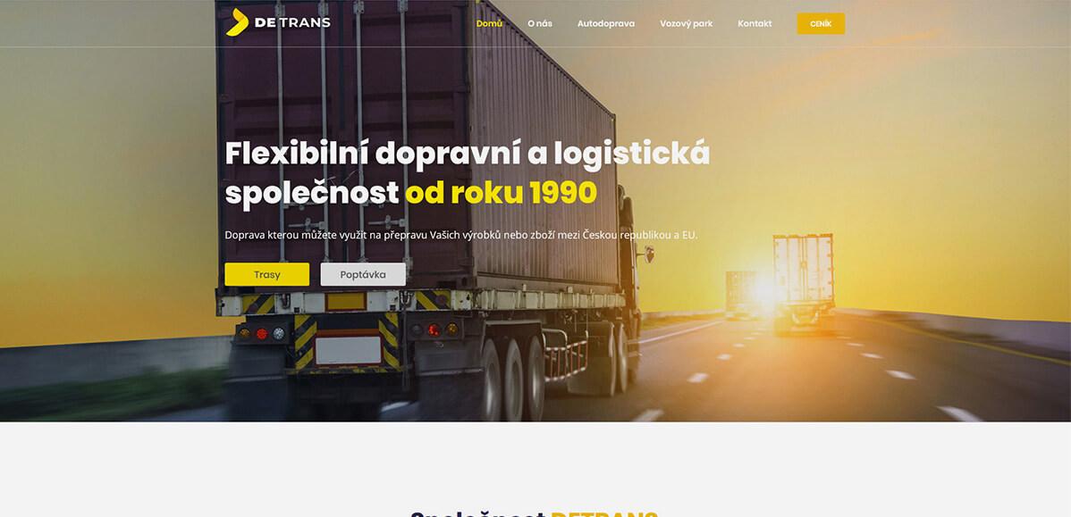 Úvodní stránka webu DETRANS