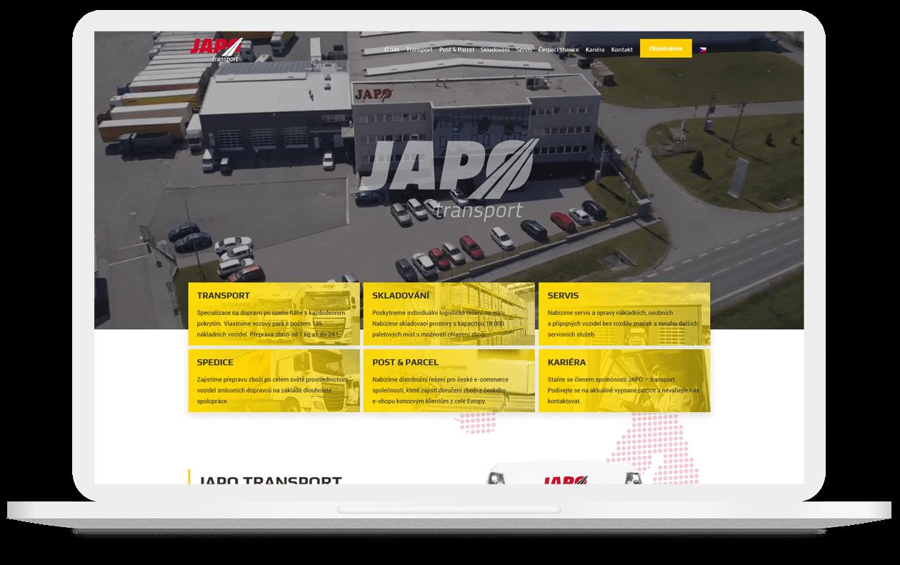 Mockup webu JAPO AUTODOPRAVA