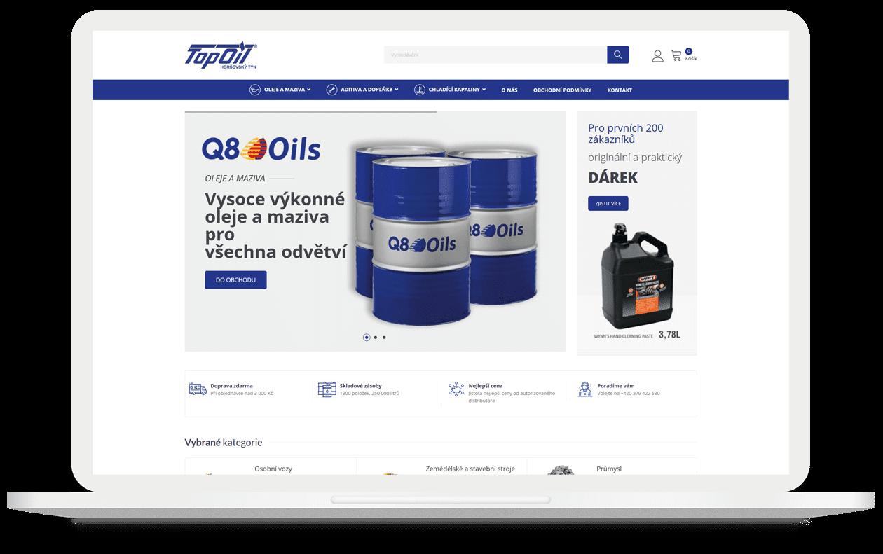 Mockup webu Top Oil