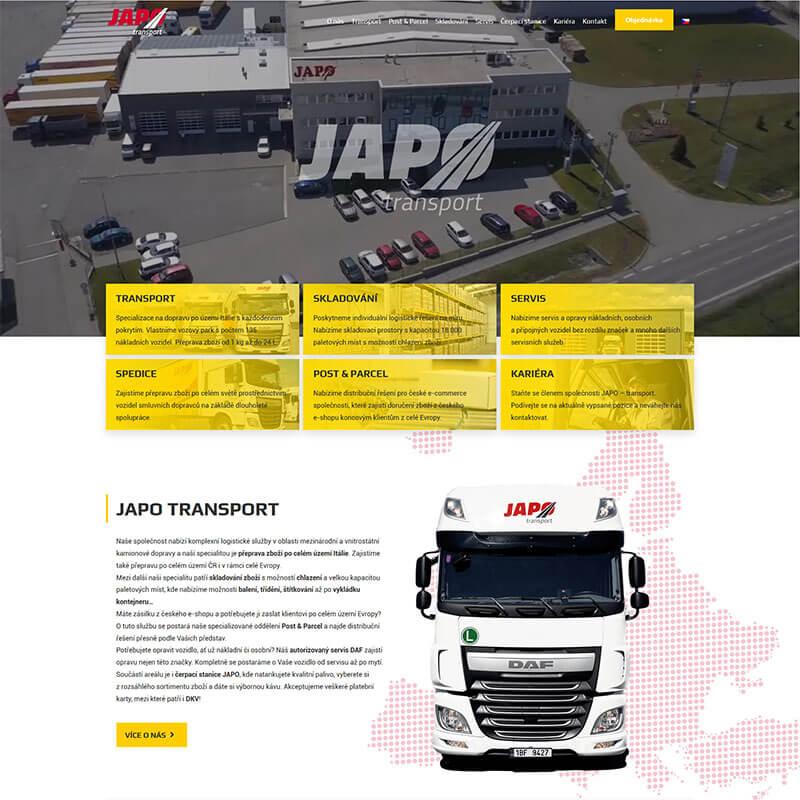 Náhledový obrázek webu JAPO AUTODOPRAVA