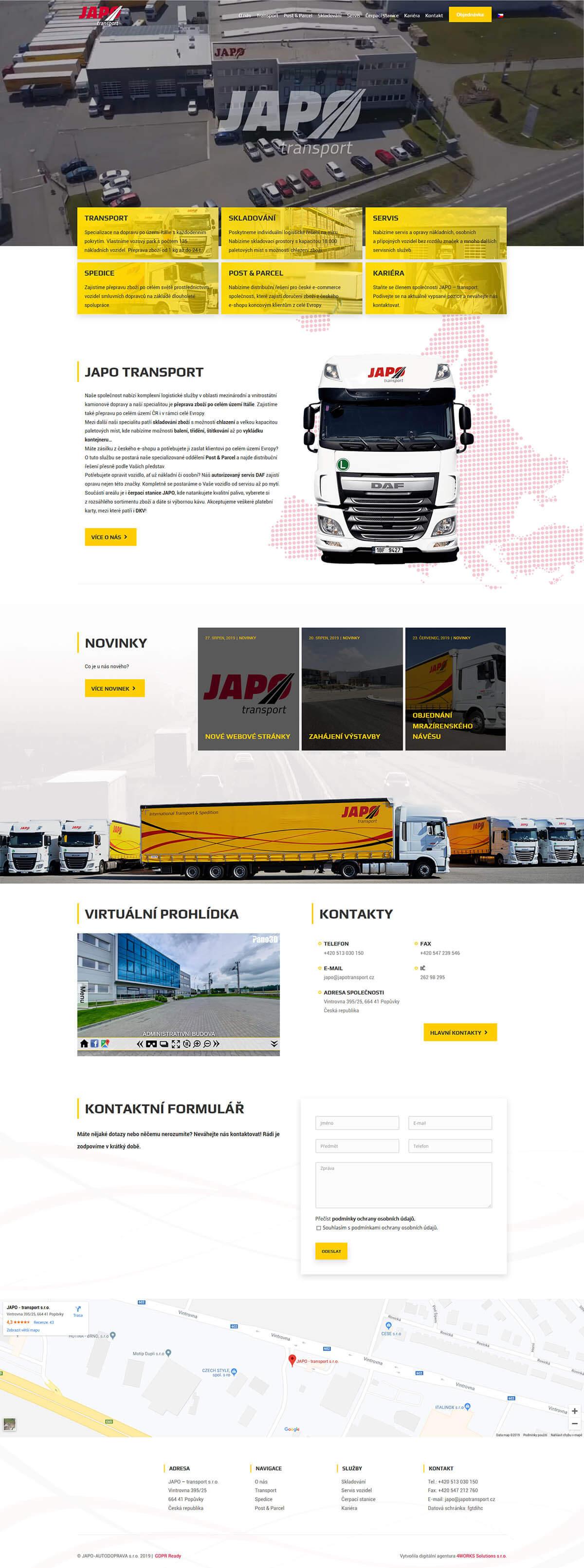 Screenshot webu JAPO AUTODOPRAVA