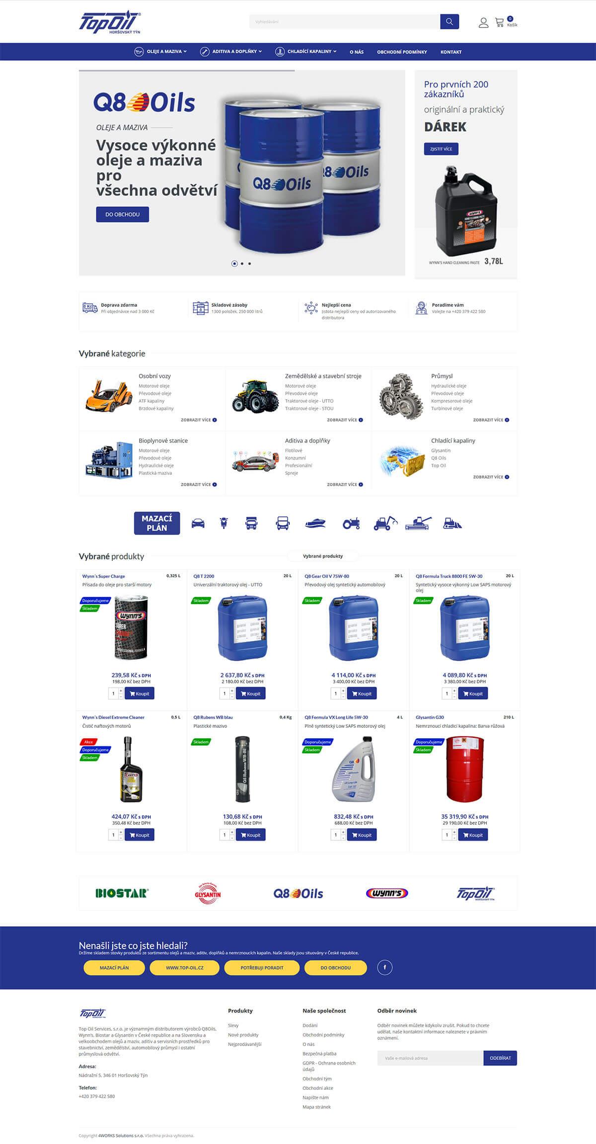 Screenshot webu Top Oil