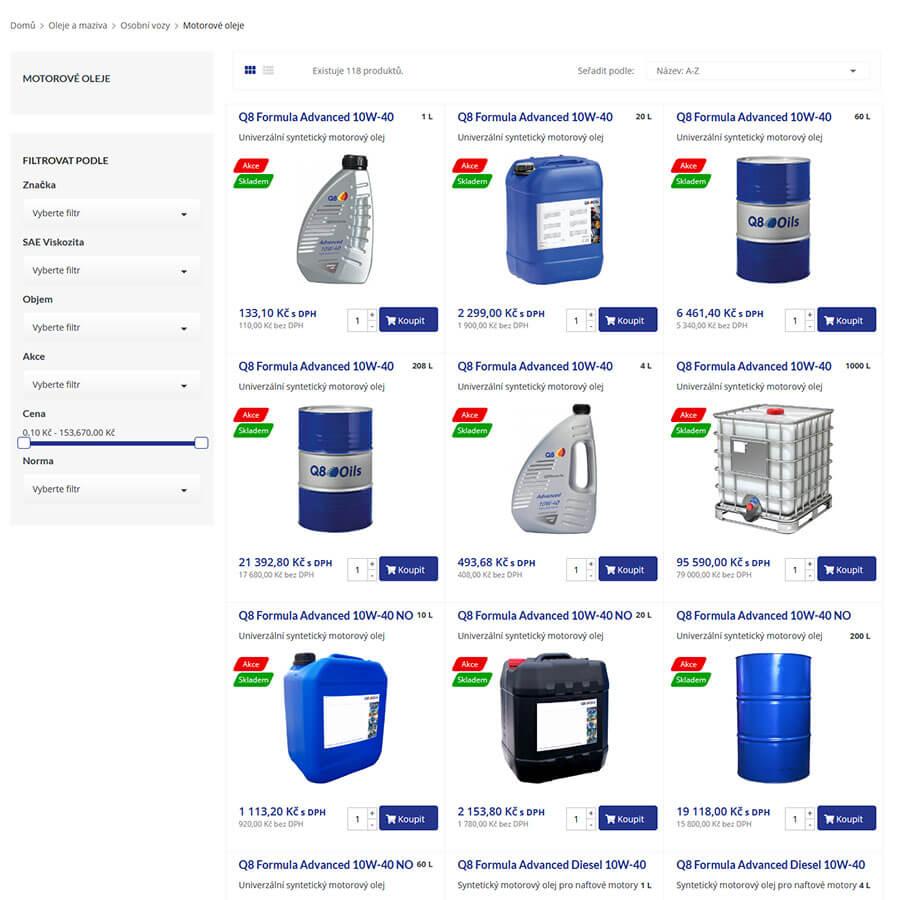Filtr produktů na webu Top Oil