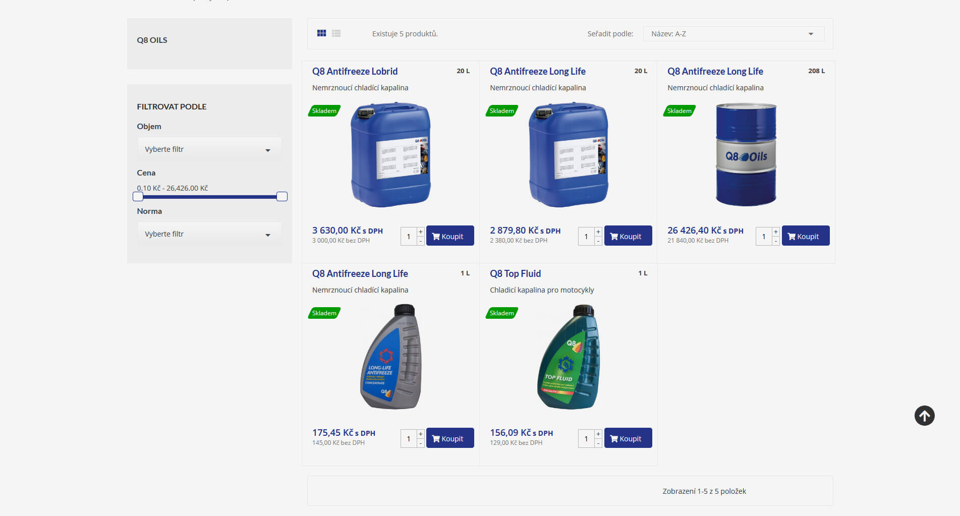 Produkty na webu Top oil