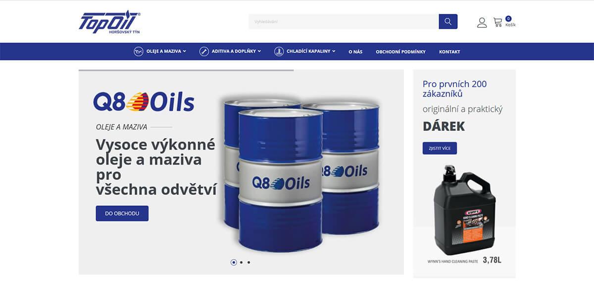 Úvodní stránka webu Top Oil