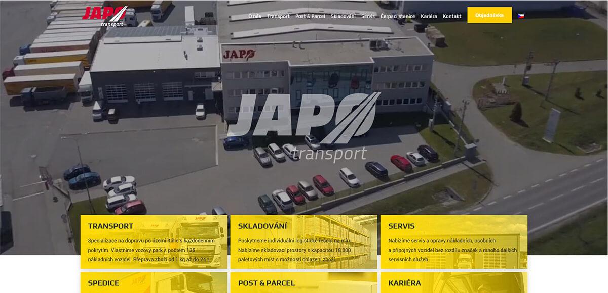 Úvodní stránka webu JAPO AUTODOPRAVA