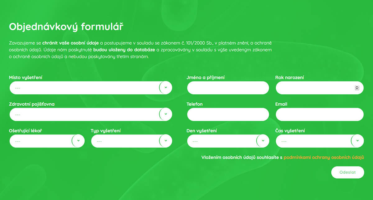 Objednávkový formulář webu Alergologie LTM