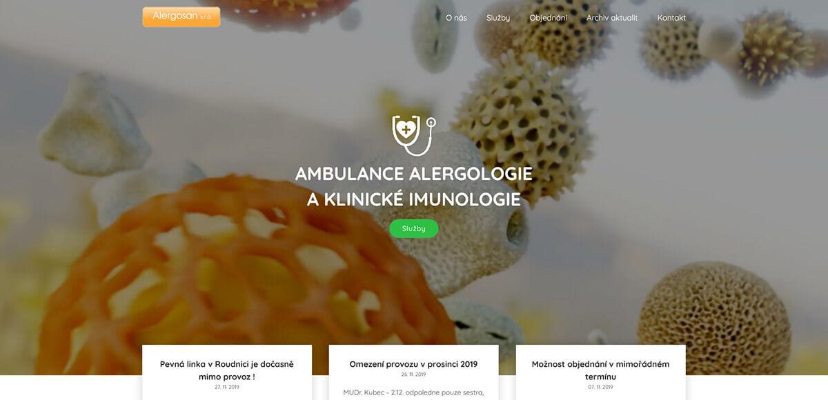 Úvodní stránka webu Alergologie LTM